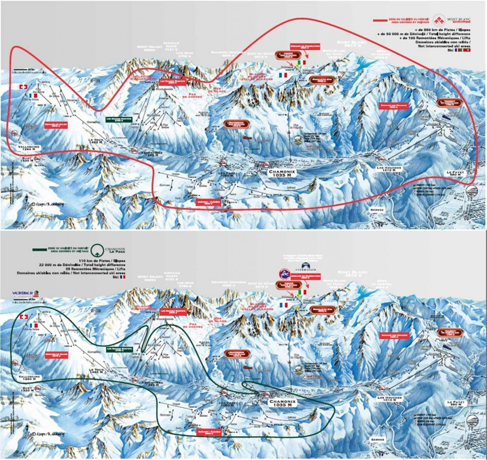 Ski areas and lift pass options for Chamonix Mont Blanc Ski Breezy