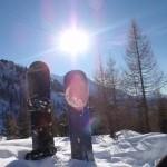 Snowboard picnic spot