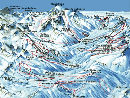 Chamonix Mont Blanc piste map and ski areas Ski Breezy
