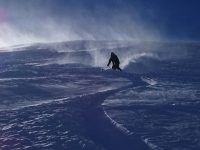 Wind and powder skiing