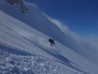 Breezy skiing powder